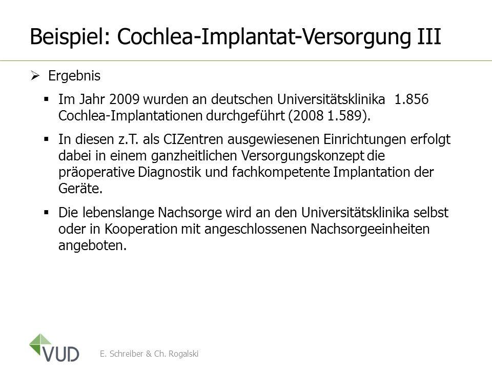Beispiel: Cochlea-Implantat-Versorgung III Ergebnis Im Jahr 2009 wurden an deutschen Universitätsklinika 1.856 Cochlea-Implantationen durchgeführt (20