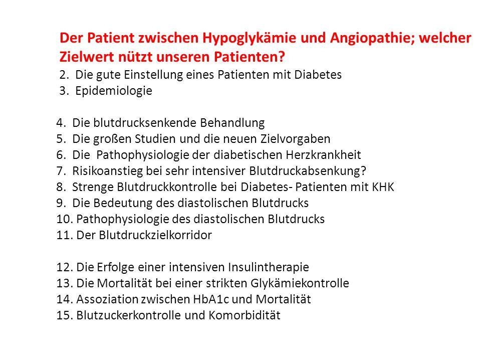 Schlussfolgerung : Eine strenge Kontrolle des systolischen BDs bei Patienten mit Diabetes und KHK war im Vergleich zu normaler Kontrolle nicht mit günstigeren kardiovaskulären Ergebnissen assoziiert.