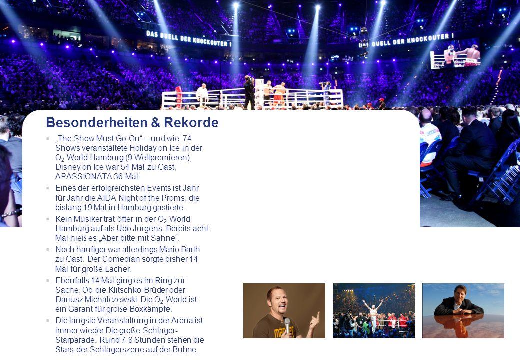 Besonderheiten & Rekorde The Show Must Go On – und wie. 74 Shows veranstaltete Holiday on Ice in der O 2 World Hamburg (9 Weltpremieren), Disney on Ic