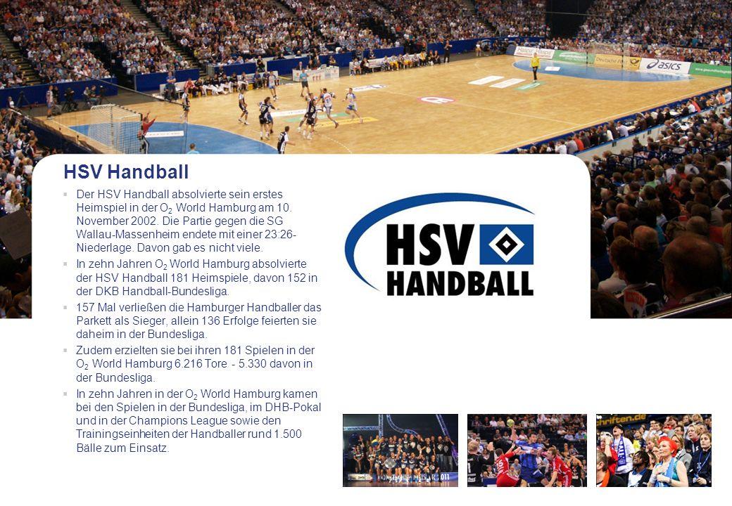 HSV Handball Der HSV Handball absolvierte sein erstes Heimspiel in der O 2 World Hamburg am 10. November 2002. Die Partie gegen die SG Wallau-Massenhe