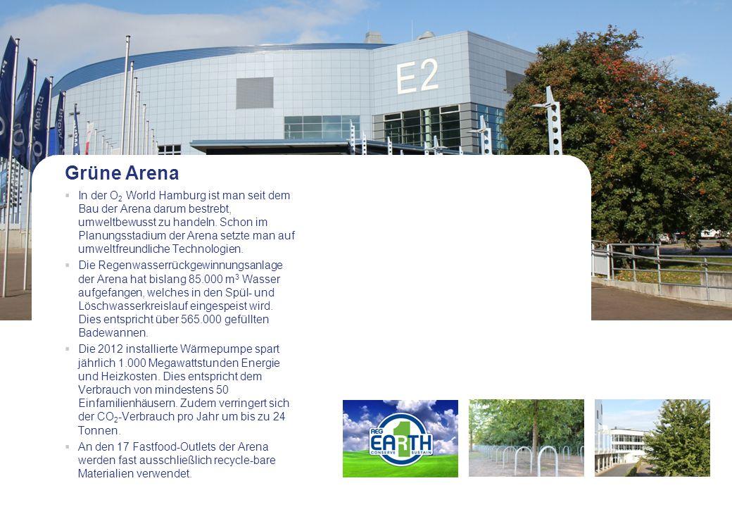 Grüne Arena In der O 2 World Hamburg ist man seit dem Bau der Arena darum bestrebt, umweltbewusst zu handeln. Schon im Planungsstadium der Arena setzt