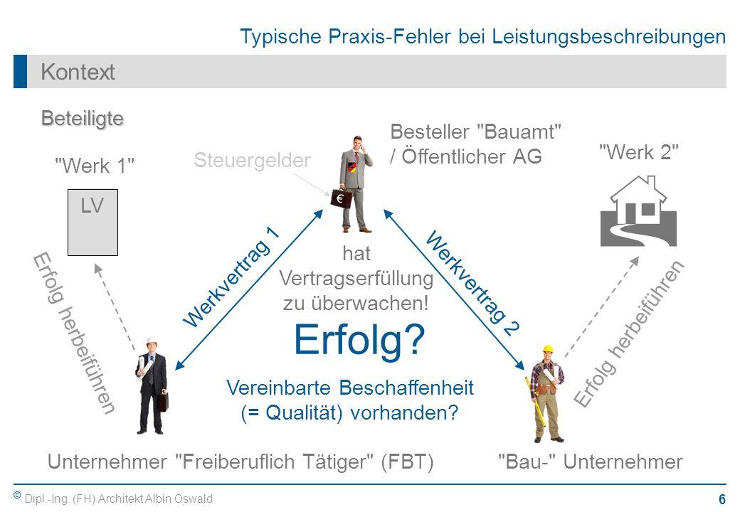 © Dipl.-Ing. (FH) Architekt Albin Oswald 6 Typische Praxis-Fehler bei Leistungsbeschreibungen Kontext Beteiligte Unternehmer