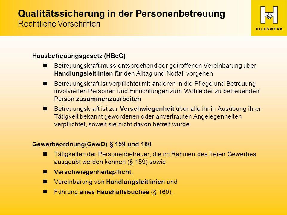 Qualitätssicherung in der Personenbetreuung Maßnahmen des Hilfswerks IV.