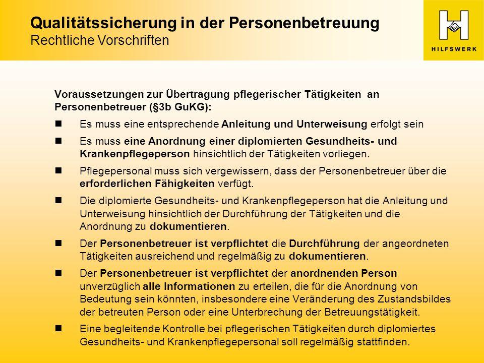 Qualitätssicherung in der Personenbetreuung Rechtliche Vorschriften Folgende ärztliche Tätigkeiten (§15 Abs.