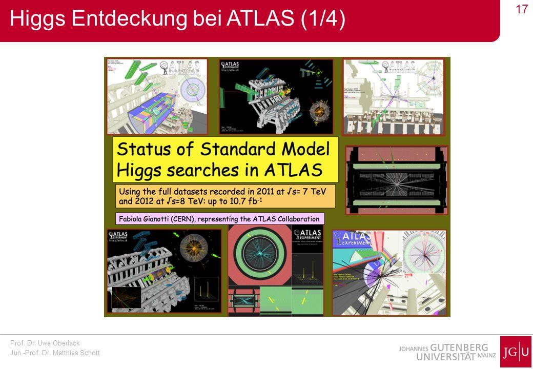 Prof. Dr. Uwe Oberlack Jun.-Prof. Dr. Matthias Schott 17 Higgs Entdeckung bei ATLAS (1/4)