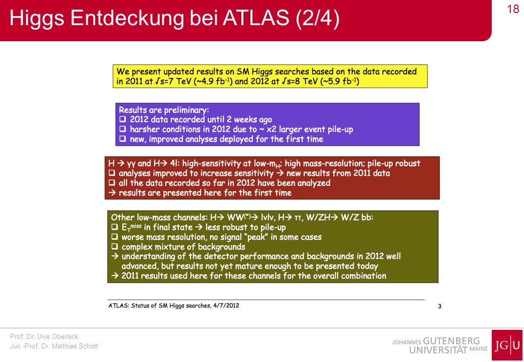 Prof. Dr. Uwe Oberlack Jun.-Prof. Dr. Matthias Schott 18 Higgs Entdeckung bei ATLAS (2/4)