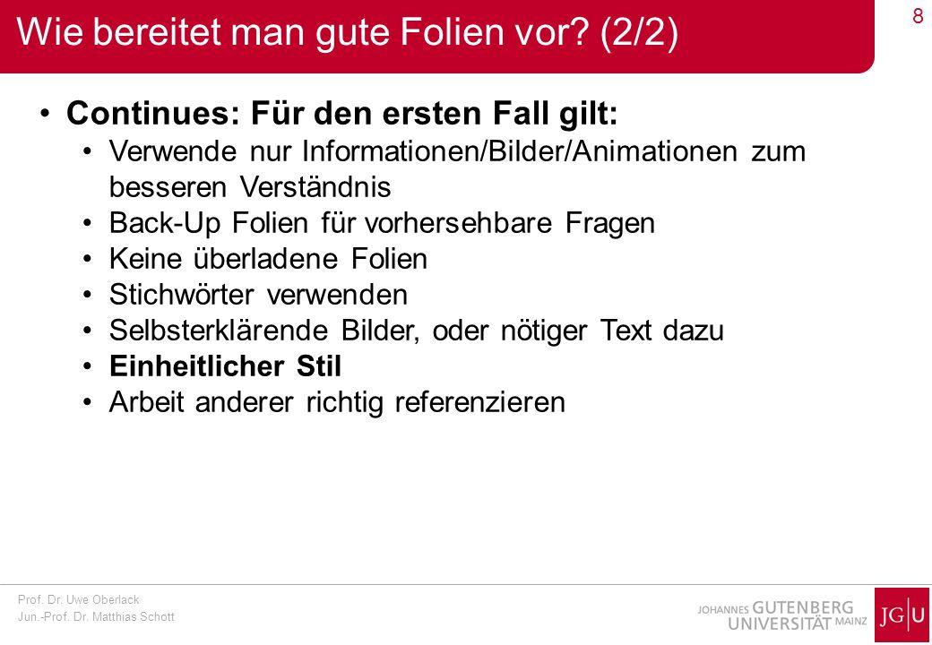 Prof. Dr. Uwe Oberlack Jun.-Prof. Dr. Matthias Schott 8 Wie bereitet man gute Folien vor? (2/2) Continues: Für den ersten Fall gilt: Verwende nur Info