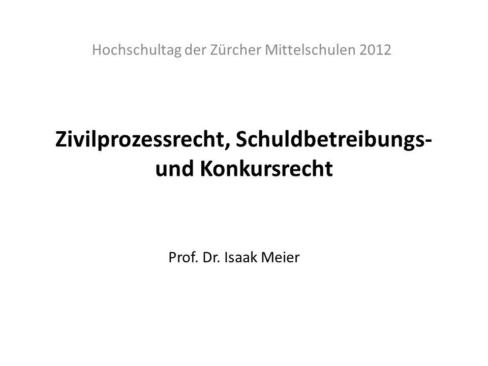 Zivilprozessrecht, Schuldbetreibungs- und Konkursrecht Hochschultag der Zürcher Mittelschulen 2012 Prof. Dr. Isaak Meier