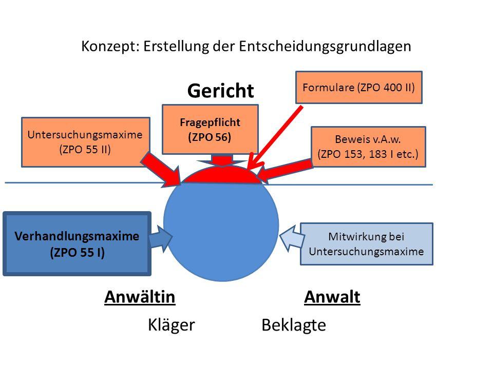 Konzept: Erstellung der Entscheidungsgrundlagen Kläger Beklagte AnwältinAnwalt Verhandlungsmaxime (ZPO 55 I) Mitwirkung bei Untersuchungsmaxime Gerich