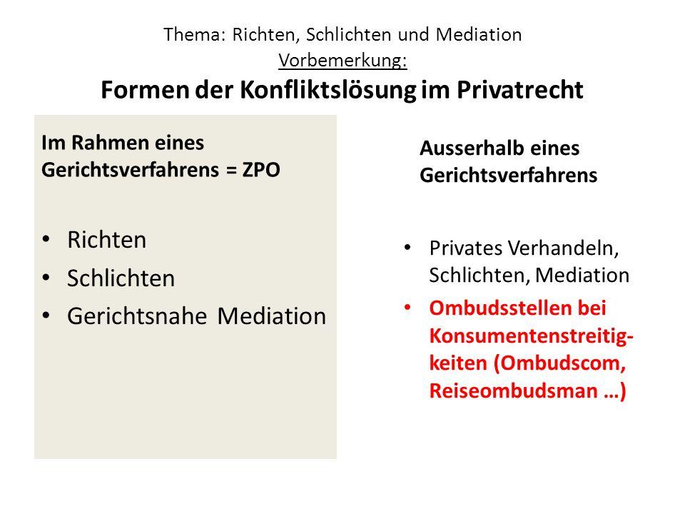 Thema: Richten, Schlichten und Mediation Vorbemerkung: Formen der Konfliktslösung im Privatrecht Im Rahmen eines Gerichtsverfahrens = ZPO Richten Schl