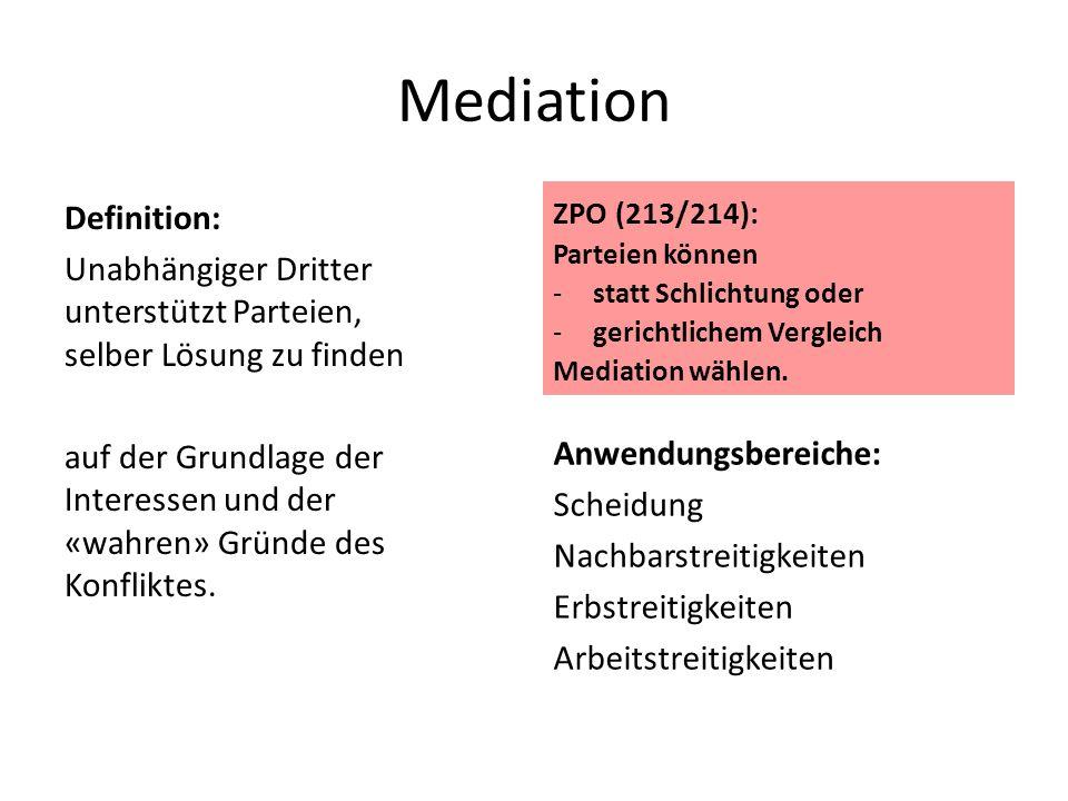 Mediation Definition: Unabhängiger Dritter unterstützt Parteien, selber Lösung zu finden auf der Grundlage der Interessen und der «wahren» Gründe des