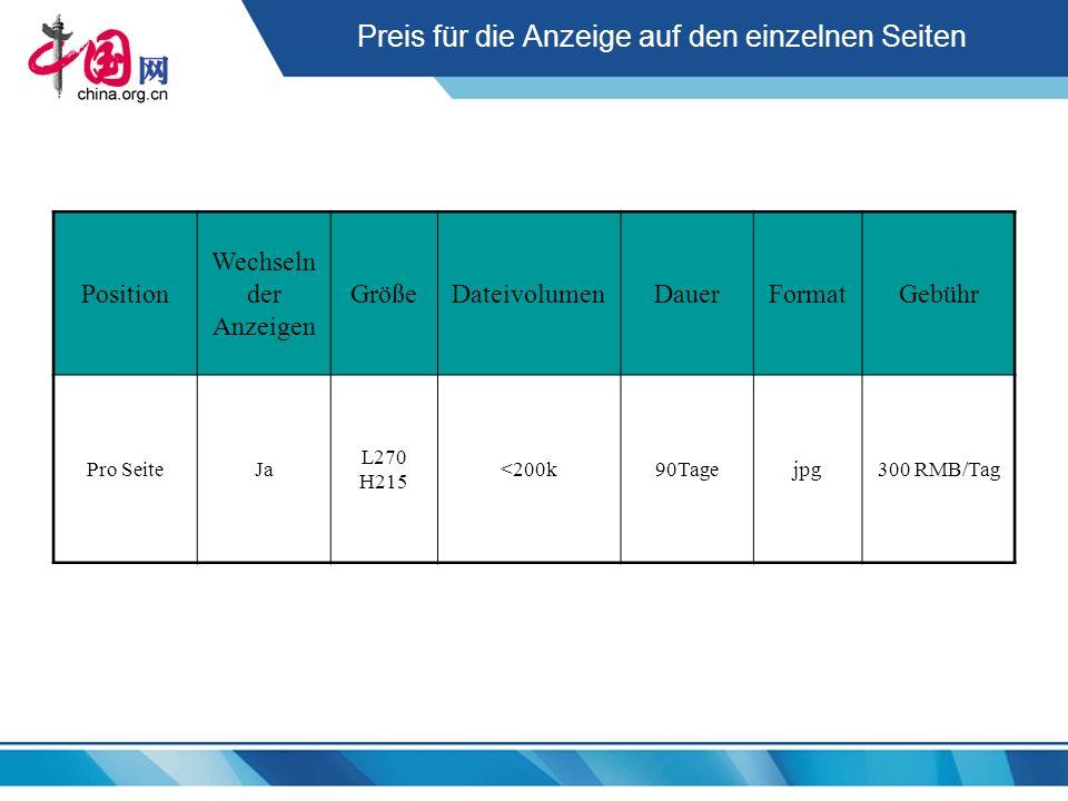 Preis für die Anzeige auf den einzelnen Seiten Position Wechseln der Anzeigen GrößeDateivolumenDauerFormatGebühr Pro SeiteJa L270 H215 <200k90Tagejpg3