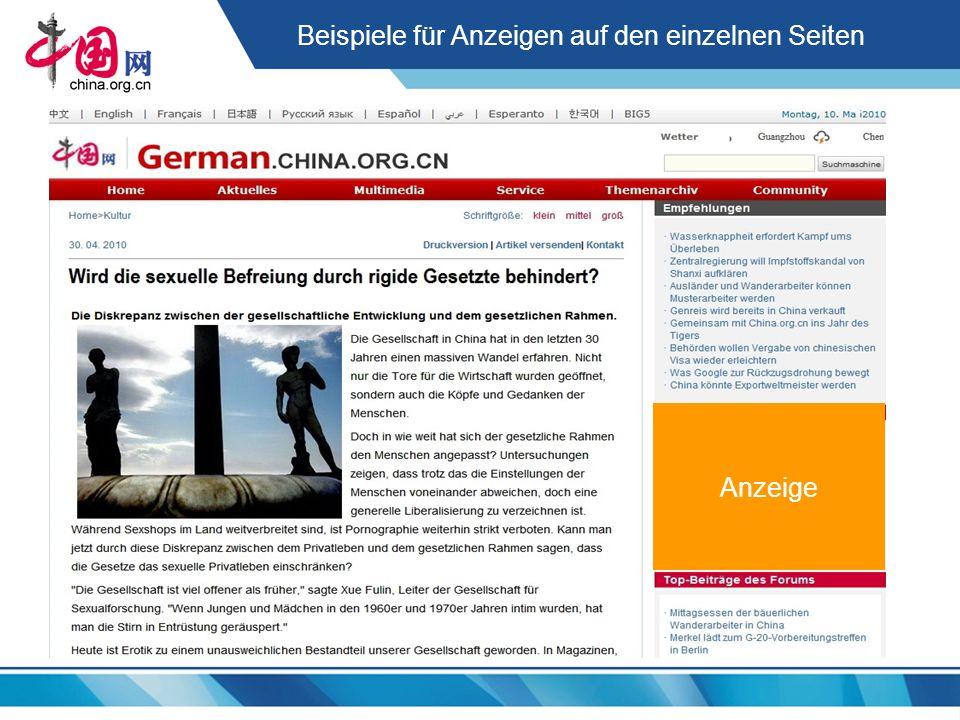 Beispiele für Anzeigen auf den einzelnen Seiten Anzeige