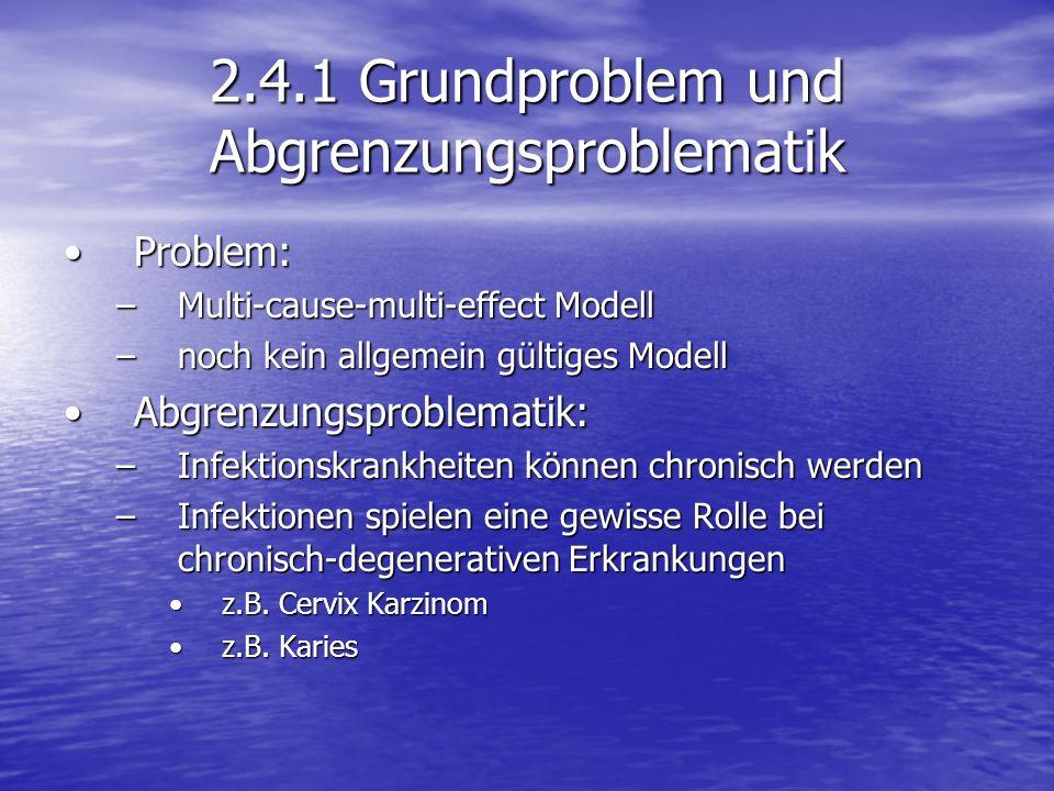 2.4.1 Grundproblem und Abgrenzungsproblematik Problem:Problem: –Multi-cause-multi-effect Modell –noch kein allgemein gültiges Modell Abgrenzungsproble