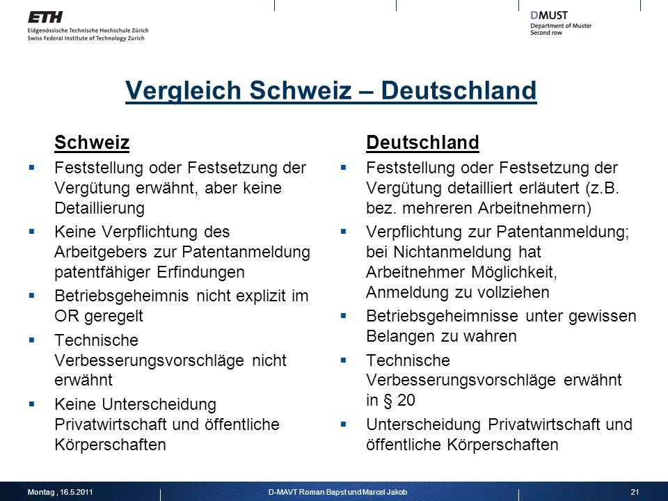 Vergleich Schweiz – Deutschland Schweiz Feststellung oder Festsetzung der Vergütung erwähnt, aber keine Detaillierung Keine Verpflichtung des Arbeitge