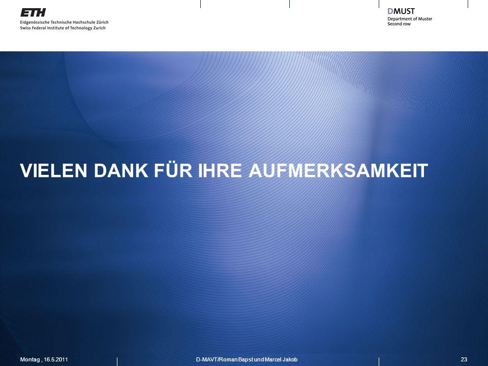 VIELEN DANK FÜR IHRE AUFMERKSAMKEIT Montag, 16.5.201123D-MAVT/Roman Bapst und Marcel Jakob