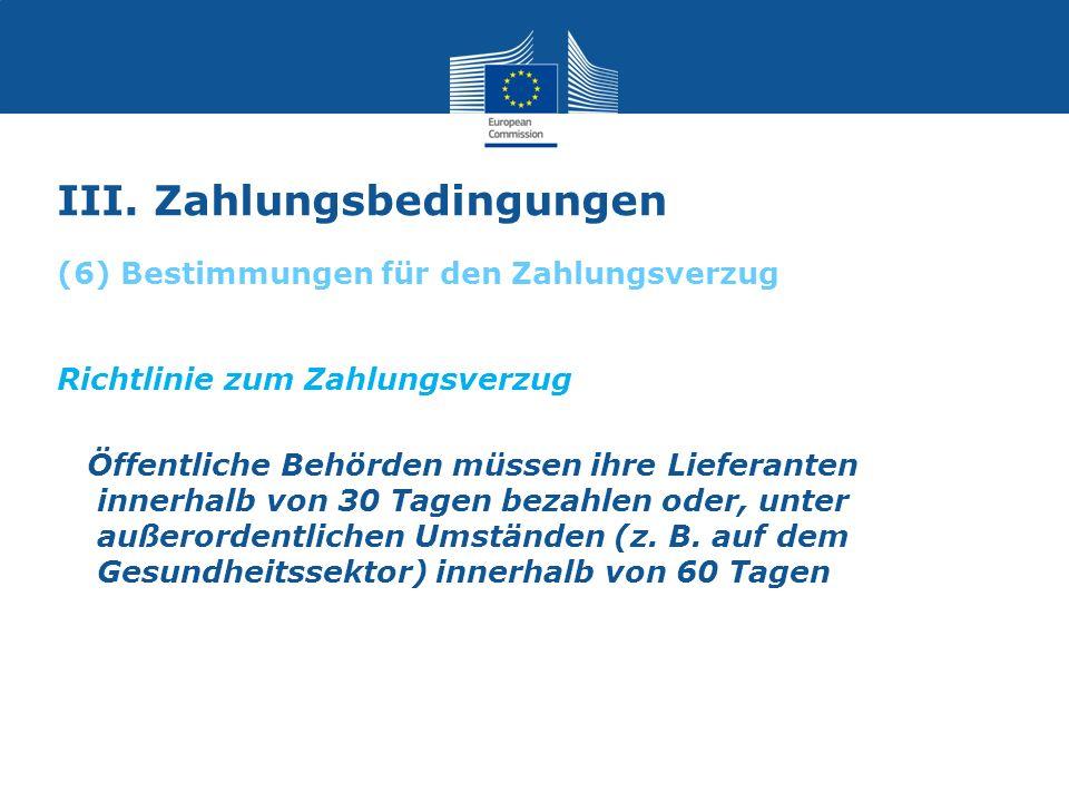 III. Zahlungsbedingungen Richtlinie zum Zahlungsverzug Öffentliche Behörden müssen ihre Lieferanten innerhalb von 30 Tagen bezahlen oder, unter außero