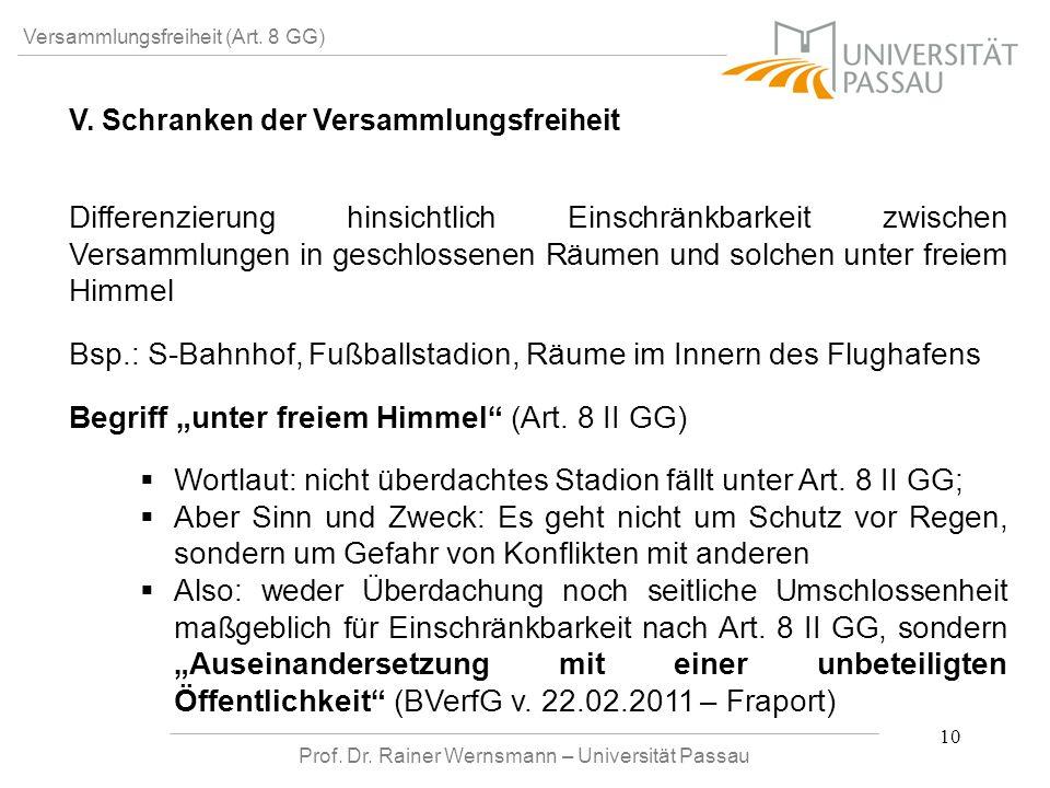 Prof. Dr. Rainer Wernsmann – Universität Passau 10 Versammlungsfreiheit (Art. 8 GG) V. Schranken der Versammlungsfreiheit Differenzierung hinsichtlich
