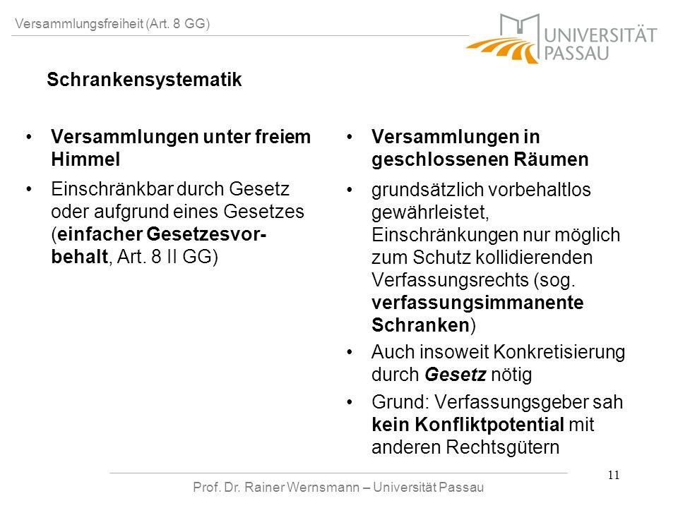 Prof. Dr. Rainer Wernsmann – Universität Passau 11 Versammlungsfreiheit (Art. 8 GG) Versammlungen unter freiem Himmel Einschränkbar durch Gesetz oder