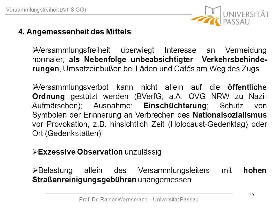 Prof. Dr. Rainer Wernsmann – Universität Passau 15 Versammlungsfreiheit (Art. 8 GG) 4. Angemessenheit des Mittels Versammlungsfreiheit überwiegt Inter