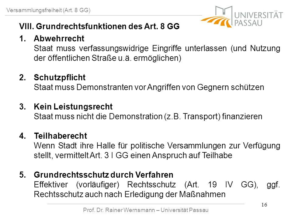 Prof. Dr. Rainer Wernsmann – Universität Passau 16 Versammlungsfreiheit (Art. 8 GG) VIII. Grundrechtsfunktionen des Art. 8 GG 1. 1.Abwehrrecht Staat m