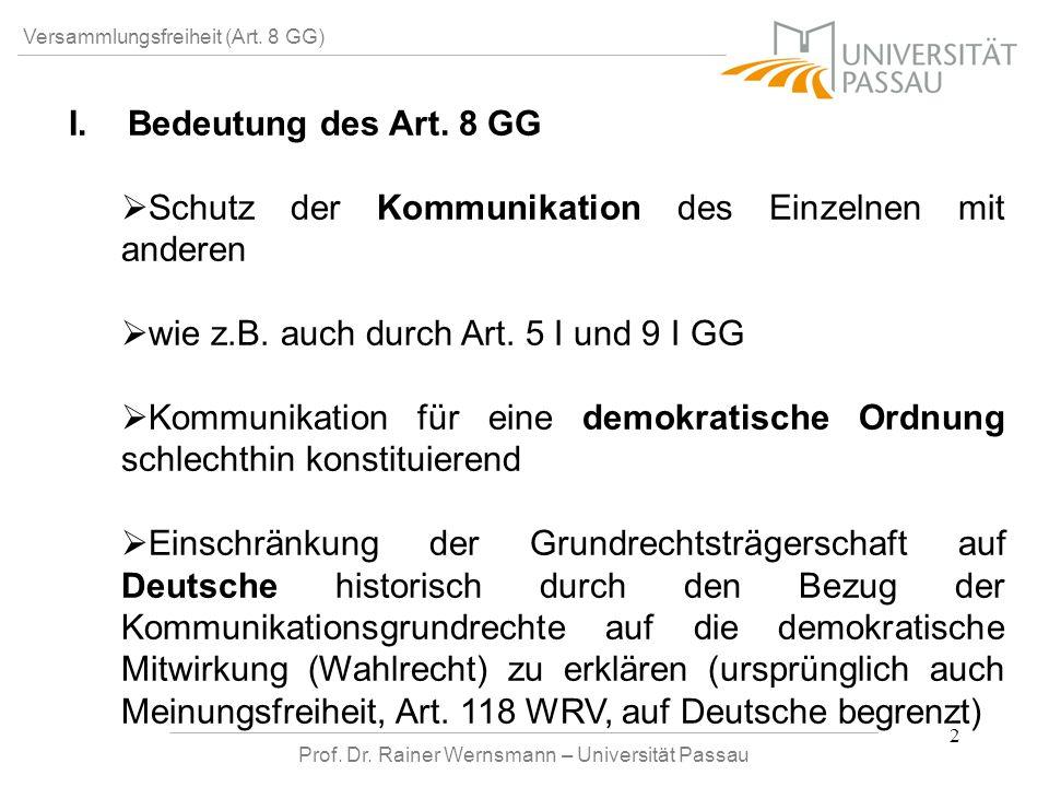 Prof. Dr. Rainer Wernsmann – Universität Passau 2 Versammlungsfreiheit (Art. 8 GG) I. I.Bedeutung des Art. 8 GG Schutz der Kommunikation des Einzelnen