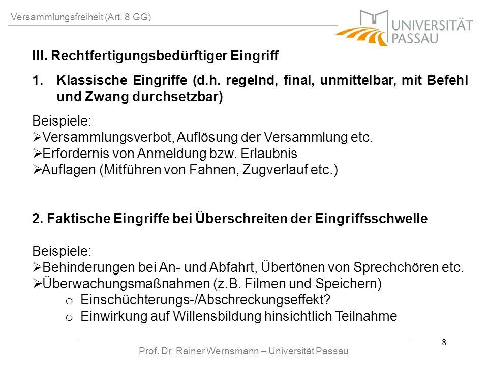 Prof. Dr. Rainer Wernsmann – Universität Passau 8 Versammlungsfreiheit (Art. 8 GG) III. Rechtfertigungsbedürftiger Eingriff 1. 1.Klassische Eingriffe