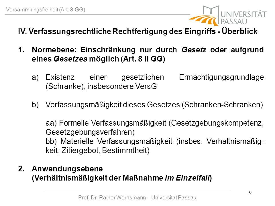 Prof. Dr. Rainer Wernsmann – Universität Passau 9 Versammlungsfreiheit (Art. 8 GG) IV. Verfassungsrechtliche Rechtfertigung des Eingriffs - Überblick