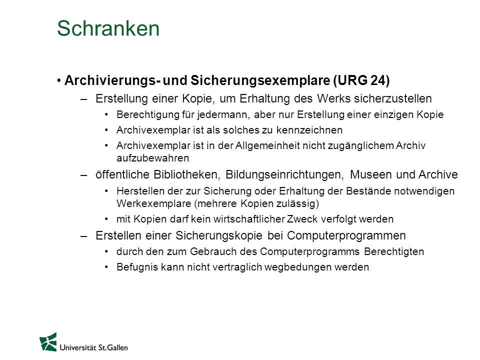 Schranken Archivierungs- und Sicherungsexemplare (URG 24) –Erstellung einer Kopie, um Erhaltung des Werks sicherzustellen Berechtigung für jedermann,