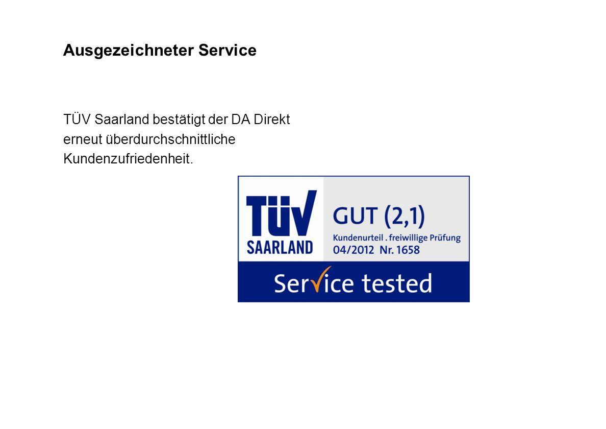 Ausgezeichneter Service TÜV Saarland bestätigt der DA Direkt erneut überdurchschnittliche Kundenzufriedenheit.