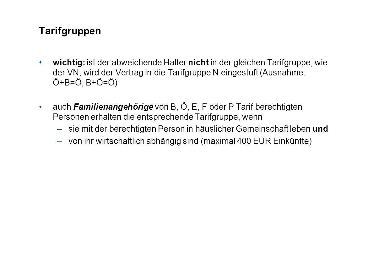 Tarifgruppen wichtig: ist der abweichende Halter nicht in der gleichen Tarifgruppe, wie der VN, wird der Vertrag in die Tarifgruppe N eingestuft (Ausnahme: Ö+B=Ö; B+Ö=Ö) auch Familienangehörige von B, Ö, E, F oder P Tarif berechtigten Personen erhalten die entsprechende Tarifgruppe, wenn –sie mit der berechtigten Person in häuslicher Gemeinschaft leben und –von ihr wirtschaftlich abhängig sind (maximal 400 EUR Einkünfte)