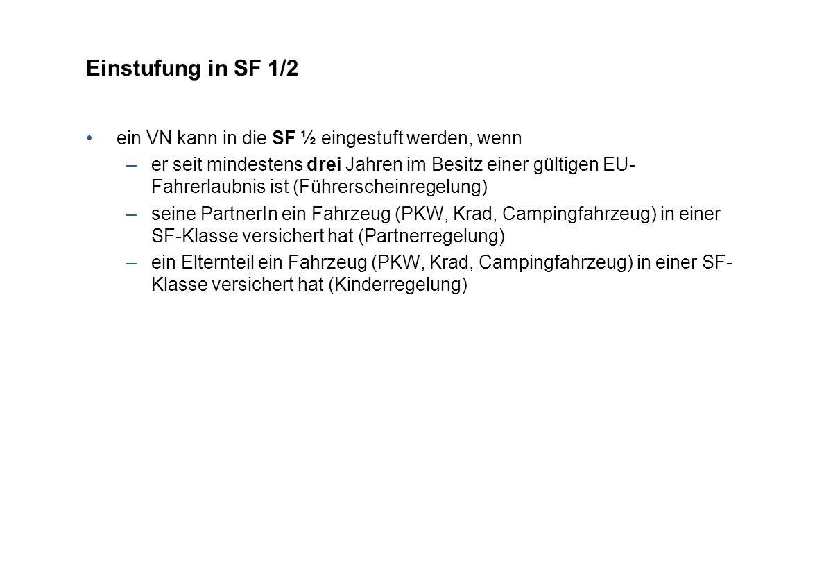 Einstufung in SF 1/2 ein VN kann in die SF ½ eingestuft werden, wenn –er seit mindestens drei Jahren im Besitz einer gültigen EU- Fahrerlaubnis ist (Führerscheinregelung) –seine PartnerIn ein Fahrzeug (PKW, Krad, Campingfahrzeug) in einer SF-Klasse versichert hat (Partnerregelung) –ein Elternteil ein Fahrzeug (PKW, Krad, Campingfahrzeug) in einer SF- Klasse versichert hat (Kinderregelung)