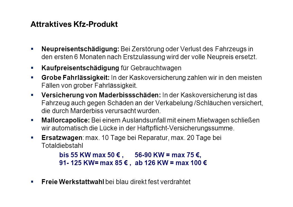 Attraktives Kfz-Produkt Neupreisentschädigung: Bei Zerstörung oder Verlust des Fahrzeugs in den ersten 6 Monaten nach Erstzulassung wird der volle Neu