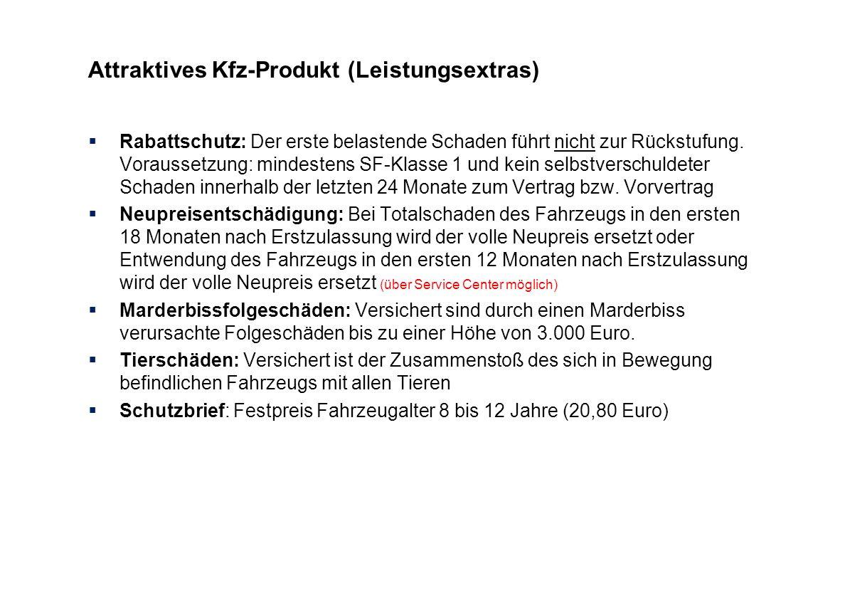 Attraktives Kfz-Produkt (Leistungsextras) Rabattschutz: Der erste belastende Schaden führt nicht zur Rückstufung. Voraussetzung: mindestens SF-Klasse
