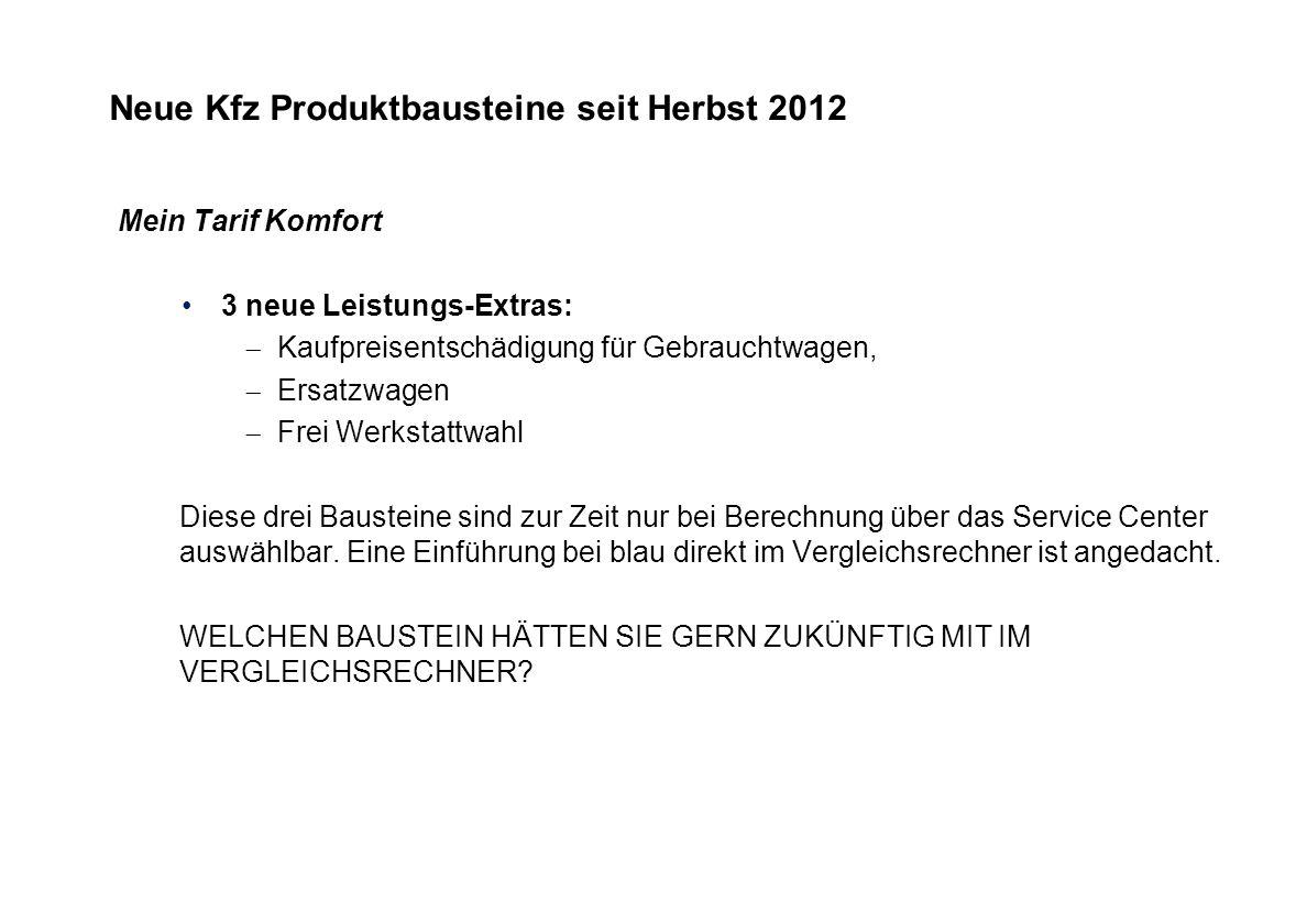 Neue Kfz Produktbausteine seit Herbst 2012 Mein Tarif Komfort 3 neue Leistungs-Extras: Kaufpreisentschädigung für Gebrauchtwagen, Ersatzwagen Frei Wer