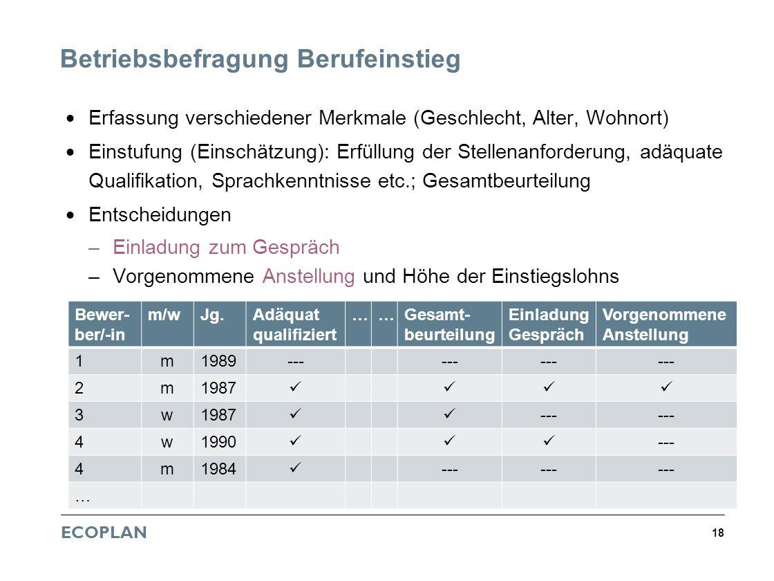 ECOPLAN 18 Betriebsbefragung Berufeinstieg Erfassung verschiedener Merkmale (Geschlecht, Alter, Wohnort) Einstufung (Einschätzung): Erfüllung der Stel