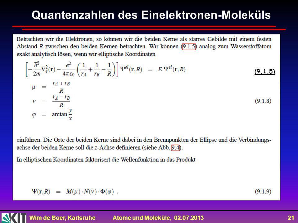Wim de Boer, Karlsruhe Atome und Moleküle, 02.07.2013 21 Quantenzahlen des Einelektronen-Moleküls (9.1.5)
