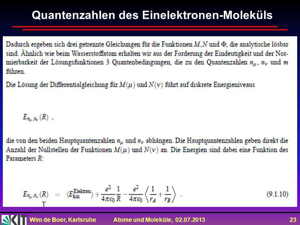 Wim de Boer, Karlsruhe Atome und Moleküle, 02.07.2013 23 Quantenzahlen des Einelektronen-Moleküls