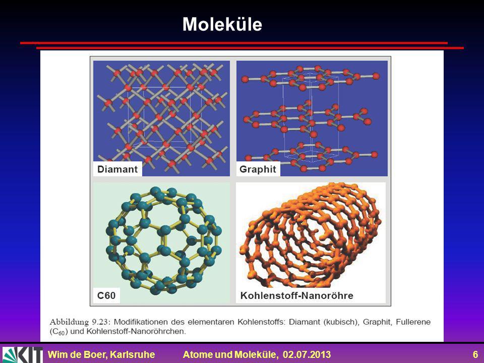 Wim de Boer, Karlsruhe Atome und Moleküle, 02.07.2013 7 Fullerene als typische Vertreter molekularer Festkörper.