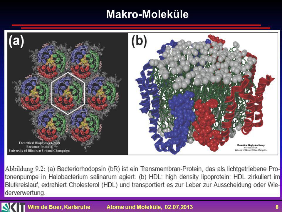 Wim de Boer, Karlsruhe Atome und Moleküle, 02.07.2013 9 Wichtig: Moleküle: Wellenfunktion aus Linearkombinationen der Produkte der Wellenfkt.