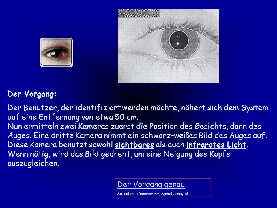 Irisscan Mit ihren zahlreichen Merkmalen wie Sprenkeln, Streifen und Punkten bietet die Iris des menschlichen Auges 266 biologischen Attribute (zum Vergleich: Die Fingerkuppe bringt es auf ca.