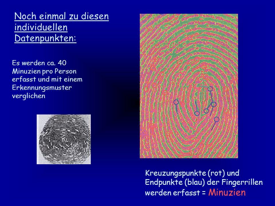 Fingerscan (optisch) Fingerkuppe wird mit einer CCD Kamera fotografiert (mausgroßes Lesegerät mit Lebenderkennung) Kapazitive Methode Das Bild der Fingerkuppe entsteht durch unterschiedl.