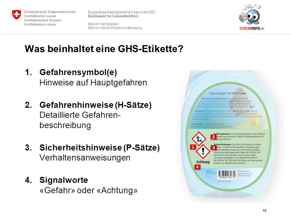 Eidgenössisches Departement des Innern EDI Bundesamt für Gesundheit BAG Sektion Kampagnen Sektion Marktkontrolle und Beratung Was beinhaltet eine GHS-
