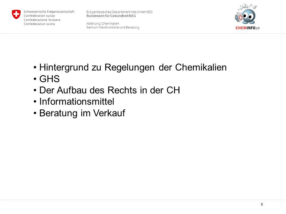 Eidgenössisches Departement des Innern EDI Bundesamt für Gesundheit BAG Sektion Kampagnen Sektion Marktkontrolle und Beratung Das Sicherheitsdatenblatt Gefährliche chemische Produkte müssen von einem Sicherheitsdatenblatt begleitet werden (siehe nachfolgendes Referat) 13