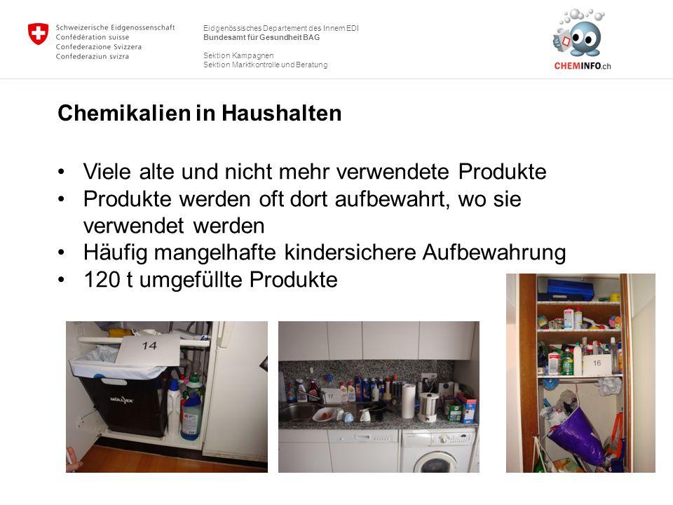 Eidgenössisches Departement des Innern EDI Bundesamt für Gesundheit BAG Sektion Kampagnen Sektion Marktkontrolle und Beratung Chemikalien in Haushalte