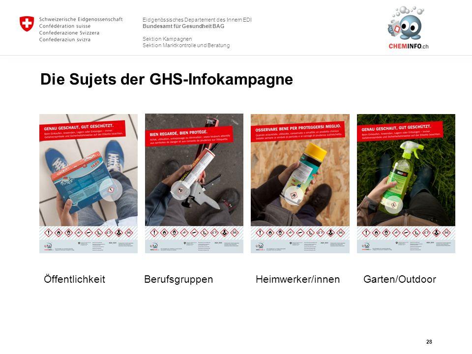 Eidgenössisches Departement des Innern EDI Bundesamt für Gesundheit BAG Sektion Kampagnen Sektion Marktkontrolle und Beratung Die Sujets der GHS-Infok