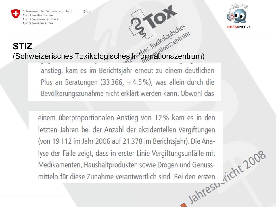 Eidgenössisches Departement des Innern EDI Bundesamt für Gesundheit BAG Abteilung Chemikalien Sektion Marktkontrolle und Beratung Behörden, Auskunftsstellen Kantone, Vollzug des Chemikalienrechts: Adressen: www.chemsuisse.chwww.chemsuisse.ch Anmeldestelle Chemikalien www.bag.admin.ch/anmeldestelle www.bag.admin.ch Bundesamt für Gesundheit (BAG), Abteilung Chemikalien: www.bagchem.ch; www.cheminfo.ch Bundesamt für Umwelt (BAFU): www.bafu.admin.ch www.bafu.admin.ch Staatssekretariat für Wirtschaft (SECO) www.seco.admin.chwww.seco.admin.ch Für Pflanzenschutzmittel: Bundesamt für Landwirtschaft (BLW) www.blw.admin.ch