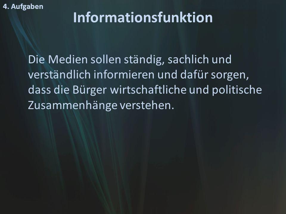 Informationsfunktion Die Medien sollen ständig, sachlich und verständlich informieren und dafür sorgen, dass die Bürger wirtschaftliche und politische