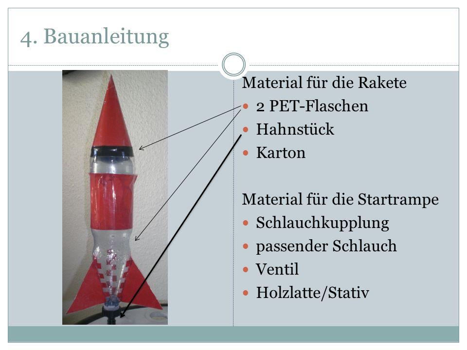 4. Bauanleitung Material für die Rakete 2 PET-Flaschen Hahnstück Karton Material für die Startrampe Schlauchkupplung passender Schlauch Ventil Holzlat