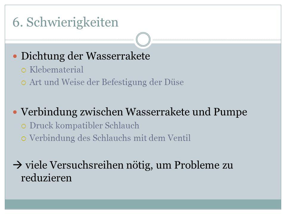 6. Schwierigkeiten Dichtung der Wasserrakete Klebematerial Art und Weise der Befestigung der Düse Verbindung zwischen Wasserrakete und Pumpe Druck kom